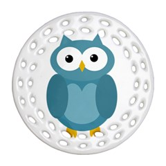 Cute blue owl Ornament (Round Filigree)