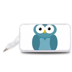 Cute blue owl Portable Speaker (White)