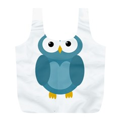 Cute blue owl Full Print Recycle Bags (L)