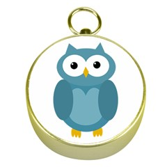 Cute blue owl Gold Compasses