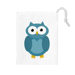 Cute blue owl Drawstring Pouches (Large)