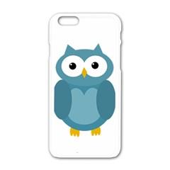 Cute blue owl Apple iPhone 6/6S White Enamel Case
