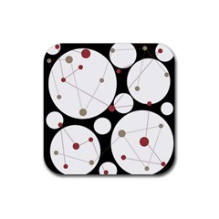 Decorative circles Rubber Square Coaster (4 pack)