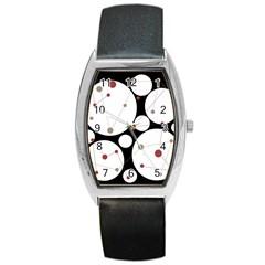 Decorative circles Barrel Style Metal Watch
