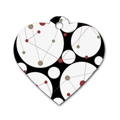 Decorative circles Dog Tag Heart (One Side)