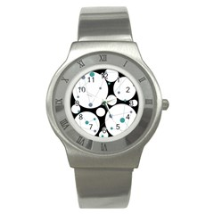 Decorative circles - blue Stainless Steel Watch