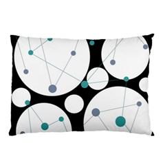 Decorative circles - blue Pillow Case