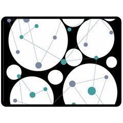 Decorative circles - blue Fleece Blanket (Large)