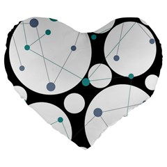 Decorative circles - blue Large 19  Premium Heart Shape Cushions
