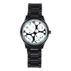 Decorative circles - blue Stainless Steel Round Watch