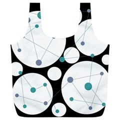 Decorative circles - blue Full Print Recycle Bags (L)