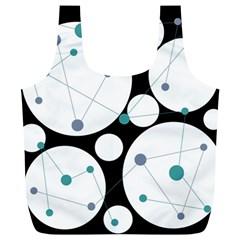 Decorative circles - blue Full Print Recycle Bags (L)