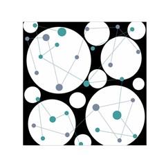 Decorative circles - blue Small Satin Scarf (Square)