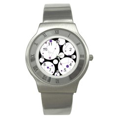 Decorative circles - purple Stainless Steel Watch