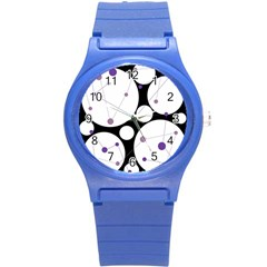 Decorative circles - purple Round Plastic Sport Watch (S)