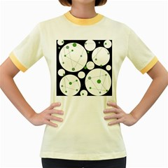 Decorative circles - green Women s Fitted Ringer T-Shirts