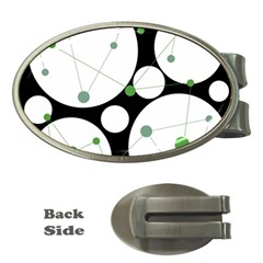 Decorative circles - green Money Clips (Oval)