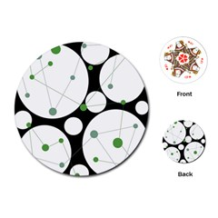 Decorative circles - green Playing Cards (Round)