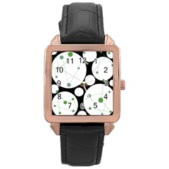 Decorative circles - green Rose Gold Leather Watch