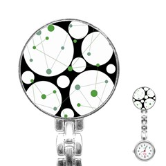 Decorative circles - green Stainless Steel Nurses Watch