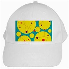 Yellow and green decorative circles White Cap