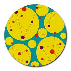 Yellow and green decorative circles Round Mousepads