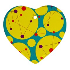 Yellow and green decorative circles Ornament (Heart)