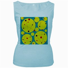 Yellow and green decorative circles Women s Baby Blue Tank Top