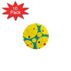 Yellow and green decorative circles 1  Mini Magnet (10 pack)