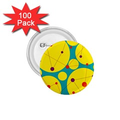 Yellow and green decorative circles 1.75  Buttons (100 pack)