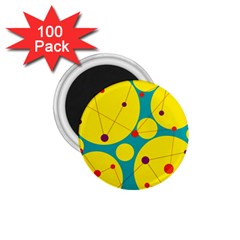 Yellow and green decorative circles 1.75  Magnets (100 pack)