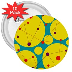 Yellow and green decorative circles 3  Buttons (10 pack)