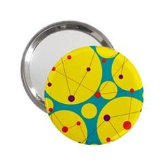 Yellow and green decorative circles 2.25  Handbag Mirrors