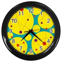 Yellow and green decorative circles Wall Clocks (Black)
