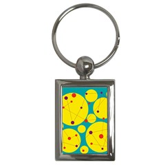 Yellow and green decorative circles Key Chains (Rectangle)