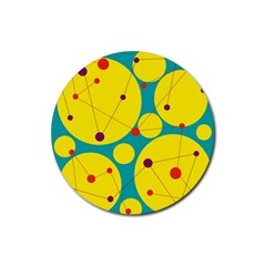 Yellow and green decorative circles Rubber Coaster (Round)