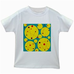 Yellow and green decorative circles Kids White T-Shirts