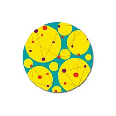 Yellow and green decorative circles Magnet 3  (Round)