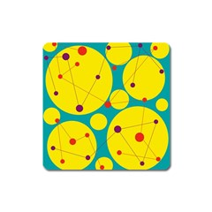 Yellow and green decorative circles Square Magnet