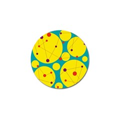 Yellow and green decorative circles Golf Ball Marker (4 pack)