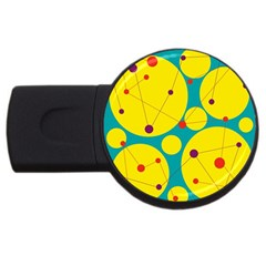 Yellow and green decorative circles USB Flash Drive Round (1 GB)