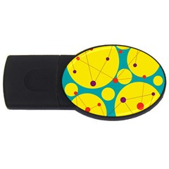 Yellow and green decorative circles USB Flash Drive Oval (1 GB)