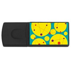 Yellow and green decorative circles USB Flash Drive Rectangular (1 GB)