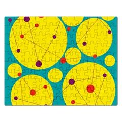 Yellow and green decorative circles Rectangular Jigsaw Puzzl