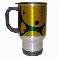 Yellow and green decorative circles Travel Mug (Silver Gray)