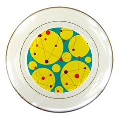 Yellow and green decorative circles Porcelain Plates