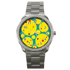 Yellow and green decorative circles Sport Metal Watch