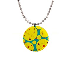 Yellow and green decorative circles Button Necklaces