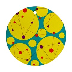 Yellow and green decorative circles Round Ornament (Two Sides)