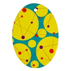 Yellow and green decorative circles Oval Ornament (Two Sides)